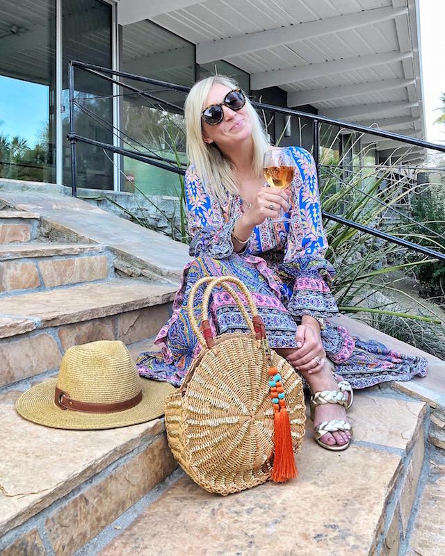 KAS New York maxi dress and Sam Edelman handbag in Palm Springs, CA