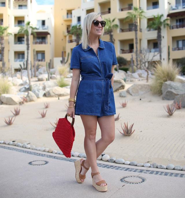 Urban Outfitters denim romper, macrame bag, Dolce Vita wedges | Pueblo Bonito Pacifica resort