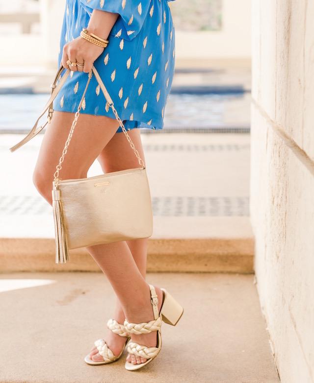 GiGi New York handbag, Rebecca Minkoff gold heels | Nikki Prendergast of My Style Diaries