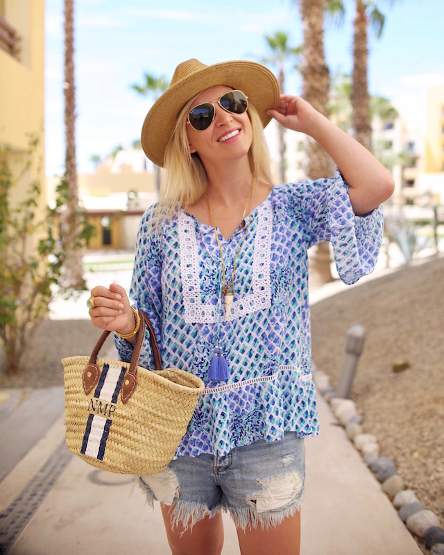 Lilly Pulitzer top, Mark & Graham tote, Free People shorts | Pueblo Bonito Pacifica in Cabo