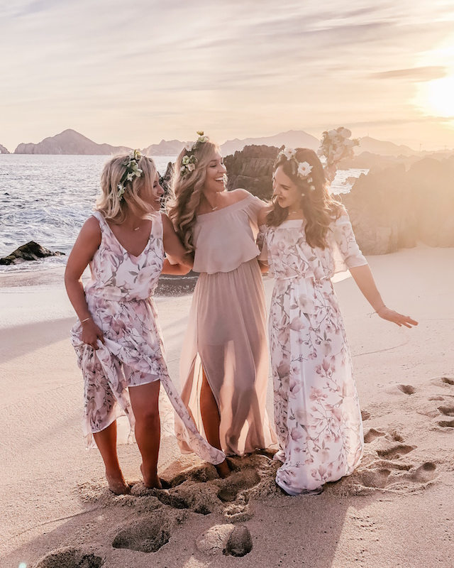 Show Me Your Mumu Bridesmaid dresses on the beach in Cabo