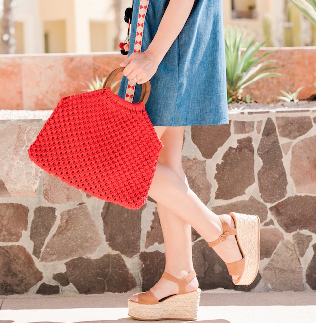 Embroidered denim dress, espadrille wedges, and summer hat   My Style Diaries at Pueblo Bonito Pacifica Resort