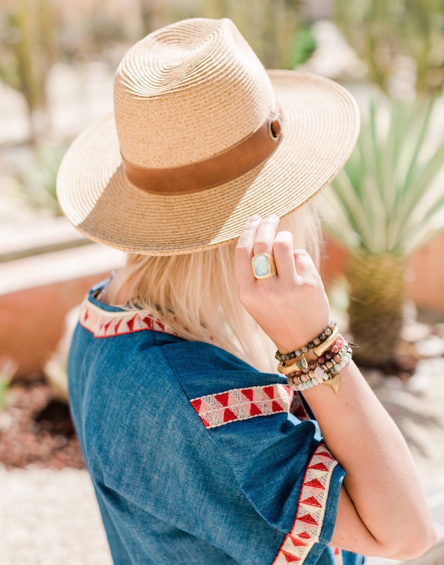 Embroidered denim dress, espadrille wedges, and summer hat | My Style Diaries at Pueblo Bonito Pacifica Resort