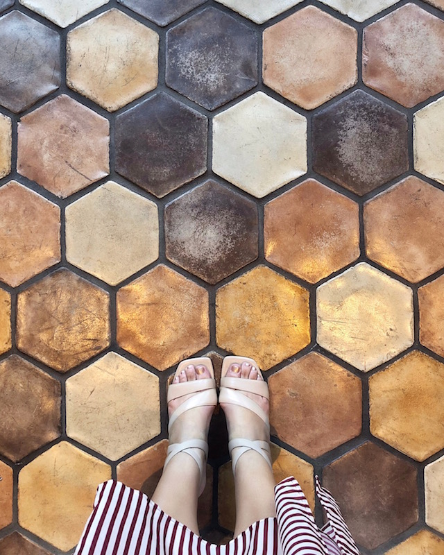 Tile floor at DRIFT eat + drink at Hyatt Regency La Jolla   My Style Diaries