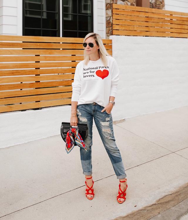 Parks Project sweatshirt, boyfriend jeans, Cult Gaia clutch, cabi heels   My Style Diaries blogger Nikki Prendergast