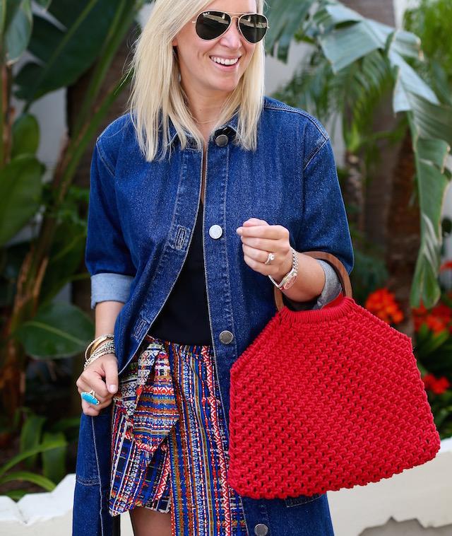 cabi skort, Forever 21 top, Topshop denim trench | My Style Diaries blogger Nikki Prendergast