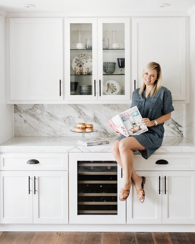 All white kitchen with Calacatta marble countertops | My Style Diaries blogger Nikki Prendergast
