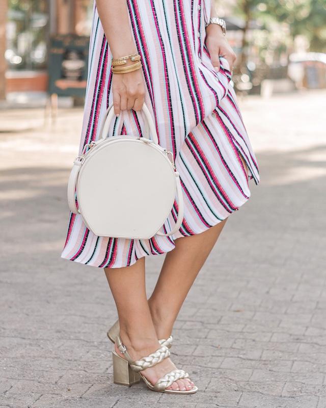 Charles Henry striped dress, Rebecca Minkoff braided heels, round handbag | My Style Diaries blogger Nikki Prendergast