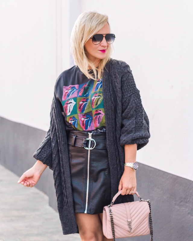 Rolling Stones t-shirt, faux leather skirt, oversized cardigan | My Style Diaries blogger Nikki Prendergast