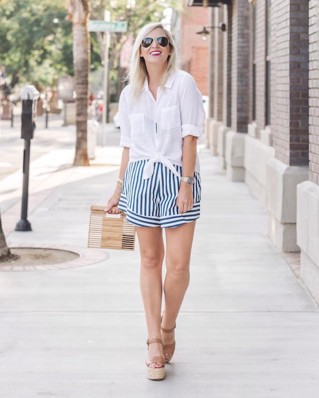Wayf striped shorts, Lilly Pulitzer linen shirt, Dolce Vita wedges | My Style Diaries blogger Nikki Prendergast