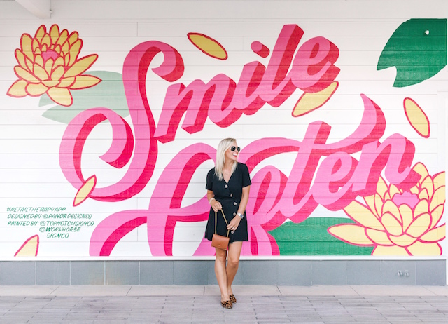 Smile Often wall | My Style Diaries blogger Nikki Prendergast in Moon River dress and Madewell leopard mules