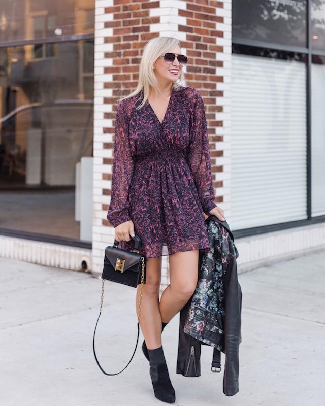 Allsaints dress, Parker NY floral leather jacket, Henri Bendel handbag, Steve Madden sock booties | My Style Diaries blogger Nikki Prendergast