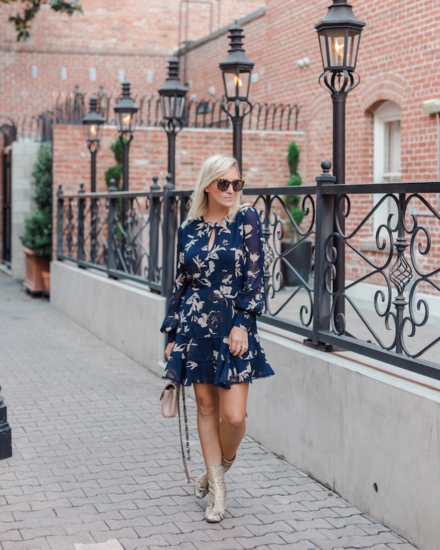 floral dress with snake-print booties   My Style Diaries blogger Nikki Prendergast