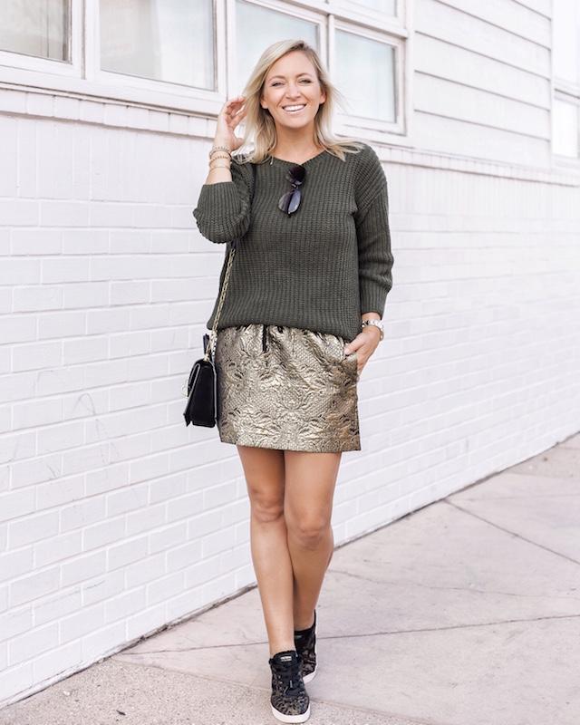 Zadig & Voltaire metallic mini, SheIn sweater, Henri Bendel bag, Tretorn sneakers | My Style Diaries blogger Nikki Prendergast