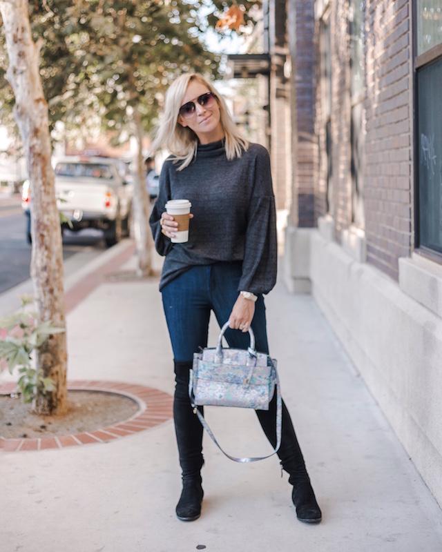Mott & Bow high rise skinny jeans, over-the-knee boots, Henri Bendel handbag | My Style Diaries blogger Nikki Prendergast