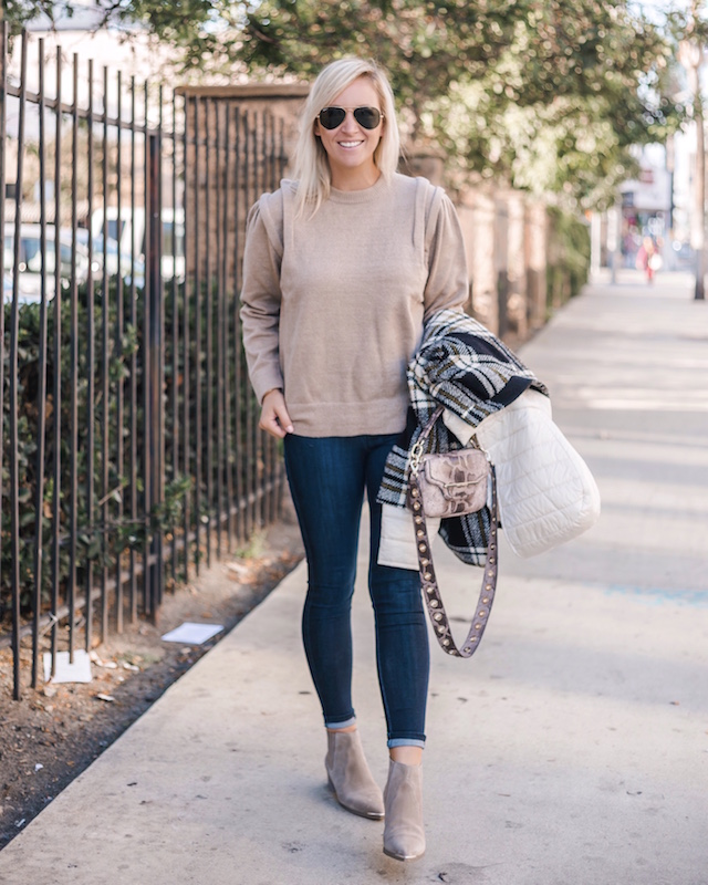 Mott & Bow high rise skinny jeans, Moon River sweater, Cinzia Rocca jacket | My Style Diaries blogger Nikki Prendergast