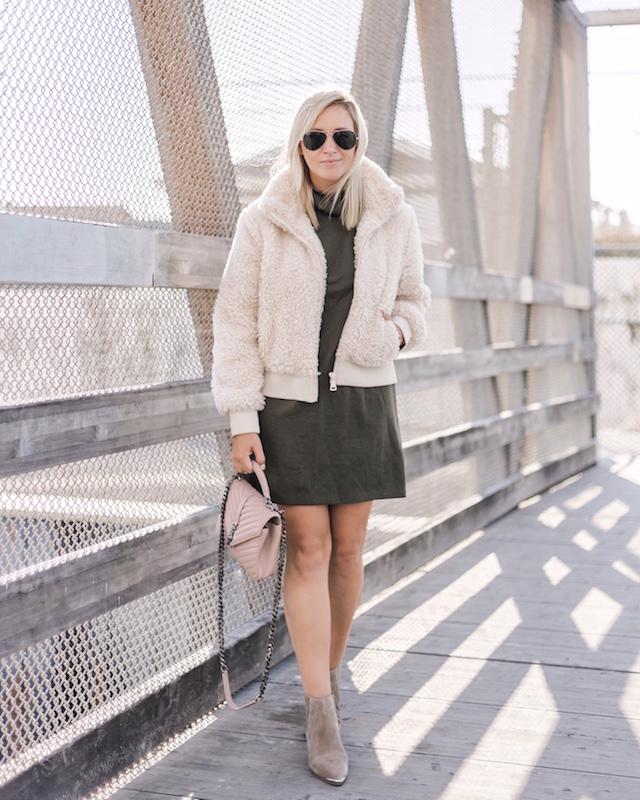 Teddy bear bomber, Zara dress, Marc Fisher booties on sale, Saint Laurent handbag   My Style Diaries blogger Nikki Prendergast