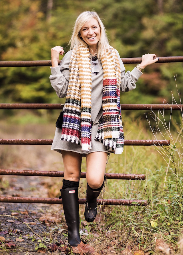 Tennessee fall foliage   My Style Diaries blogger Nikki Prendergast in Forever 21 and Hunter boots