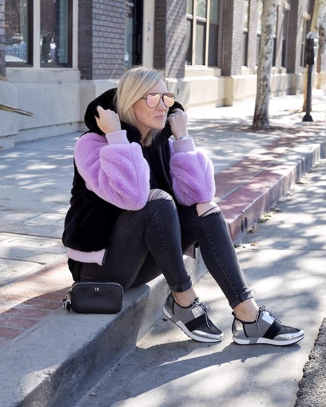 Madewell skinnies, Steve Madden sneakers, faux fur jacket | My Style Diaries blogger Nikki Prendergast
