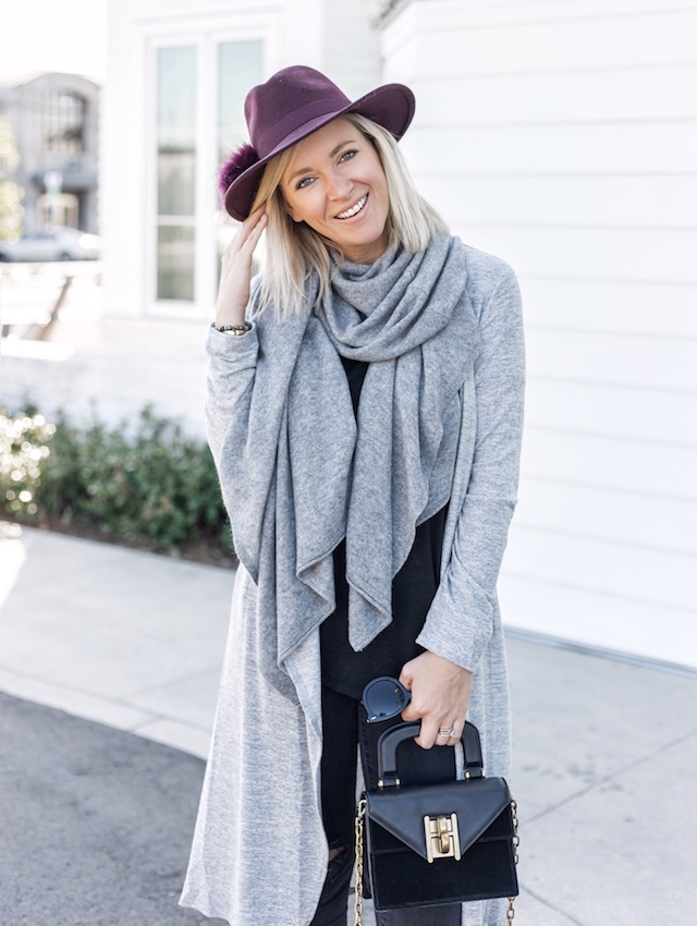 Madewell denim, Morning Lavender cardigan, Lilly Pulitzer scarf, Marc Fisher booties | My Style Diaries blogger Nikki Prendergast