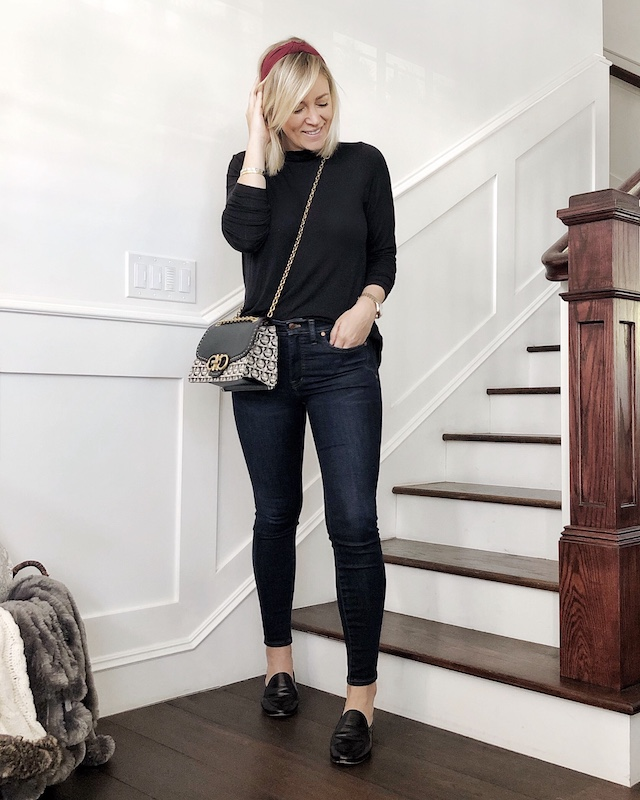 Madewell skinny jeans, cabi turtleneck, Ferragamo handbag | My Style Diaries blogger Nikki Prendergast