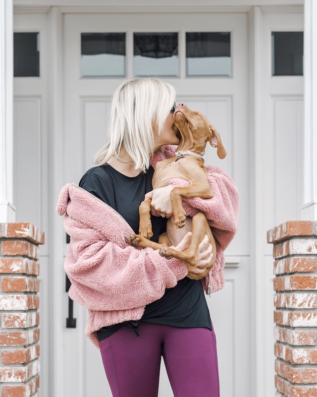 Fabletics leggings, teddy jacket | My Style Diaries blogger Nikki Prendergast