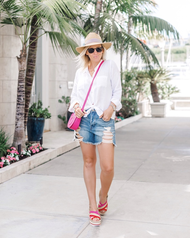 Good American denim shorts, Lilly Pulitzer button-down, Ferragamo handbag, Marc Fisher espadrilles | My Style Diaries blogger Nikki Prendergast