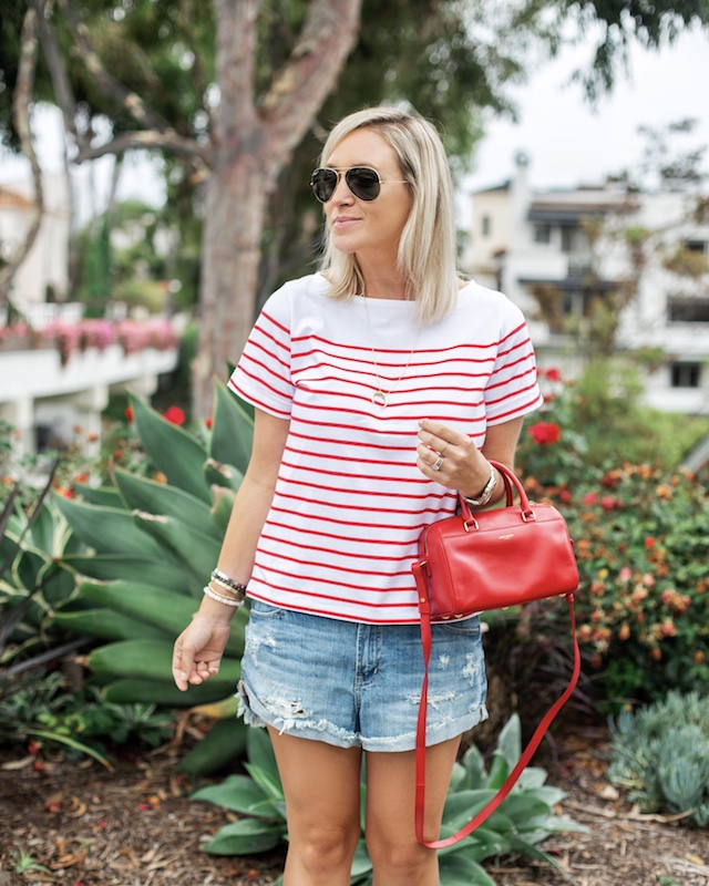 Pistola shorts, Walmart tee, Saint Laurent handbag | My Style Diaries blogger Nikki Prendergast