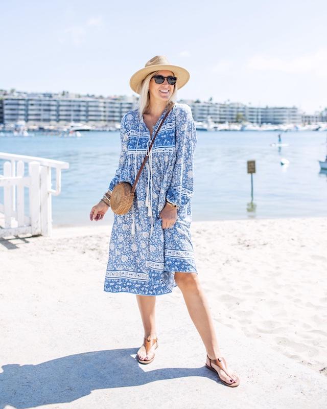 Amazon nightgown dress, straw handbag, Circus Sam Edelman sandals | My Style Diaries blogger Nikki Prendergast