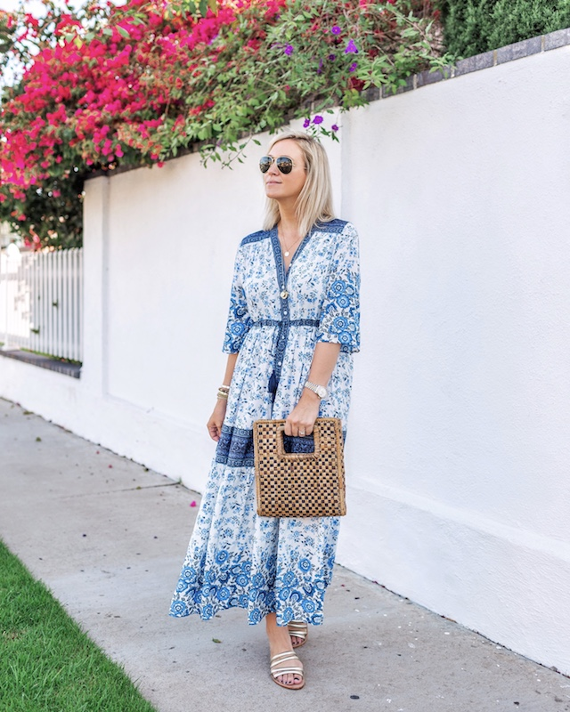Amazon dress, Ankole clutch, Kaanas sandals | My Style Diaries blogger Nikki Prendergast