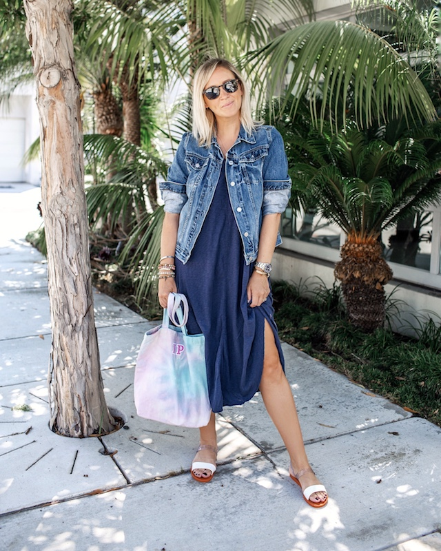 Z Supply dress, BFF & Babes tie-dye tote, Melissa sandals | My Style Diaries blogger Nikki Prendergast