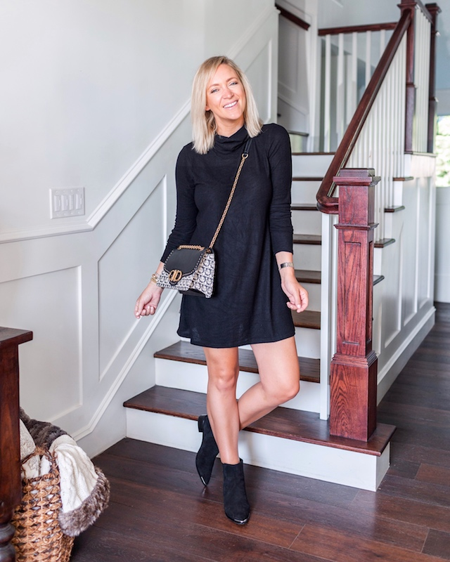 Z Supply turtleneck dress, Marc Fisher booties, Ferragamo handbag | My Style Diaries blogger Nikki Prendergast