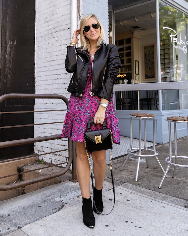 Scoop NYC dress, Blank NYC jacket, Marc Fisher booties, Henri Bendel bag | My Style Diaries blogger Nikki Prendergast