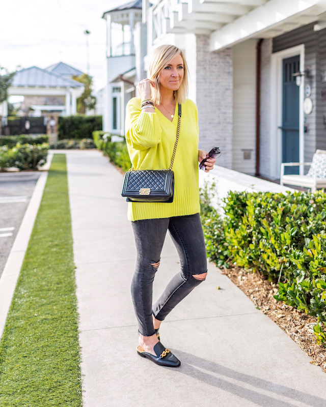 Neon Scoop sweater, Madewell jeans, Tory Burch loafers, Chanel Boy Bag | My Style Diaries blogger Nikki Prendergast