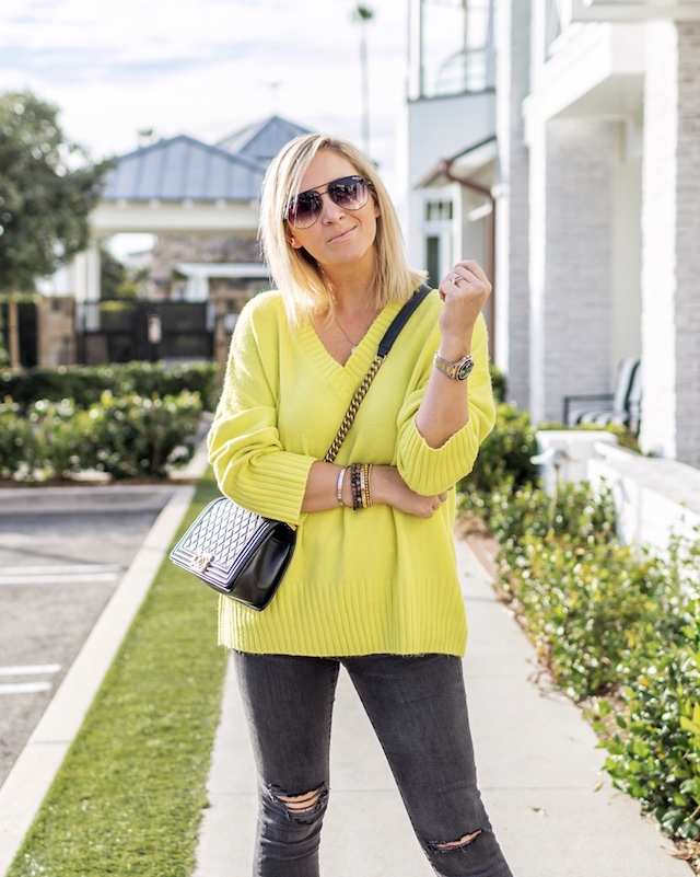 Neon Scoop sweater, Madewell jeans, Chanel Boy Bag | My Style Diaries blogger Nikki Prendergast