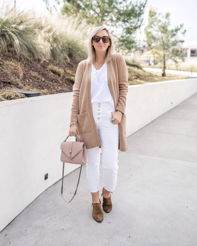 Joie jeans, Madewell tank, Amazon sweater, Saint Laurent handbag | My Style Diaries blogger Nikki Prendergast