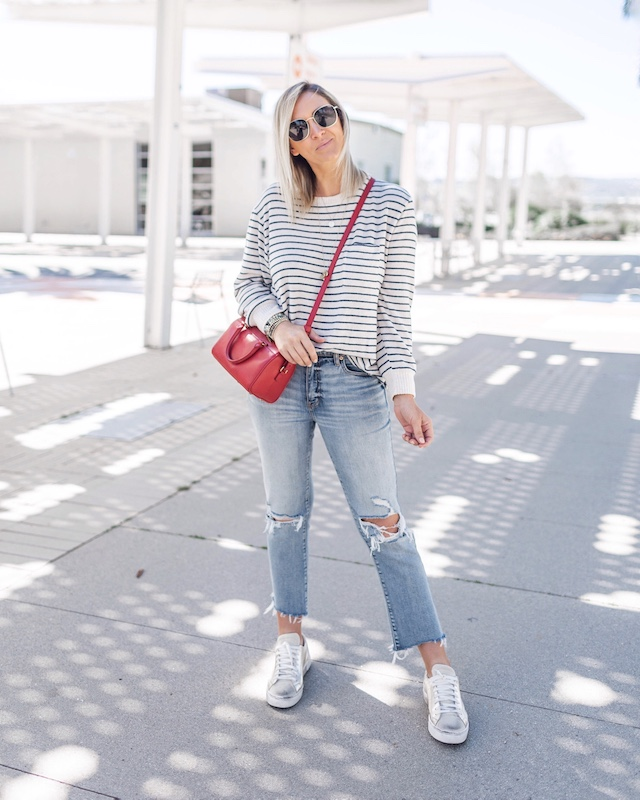 Daze denim, Target sweater, Saint Laurent handbag, Steve Madden sneakers | My Style Diaries blogger Nikki Prendergast