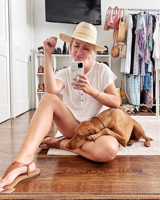 Casual summer style: Old Navy henley tee, Gigi Pip hat, Sam Edelman Circus sandals | My Style Diaries blogger Nikki Prendergast