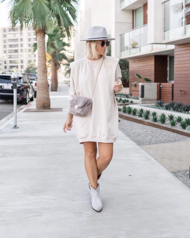 H&M sweatshirt dress, Isabel Marant booties, faux fur crossbody | My Style Diaries blogger Nikki Prendergast