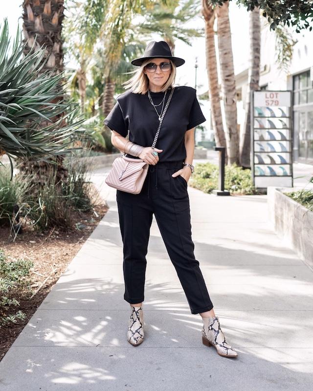 Pistola jumpsuit, Saint Laurent College handbag, Marc Fisher booties | My Style Diaries blogger Nikki Prendergast