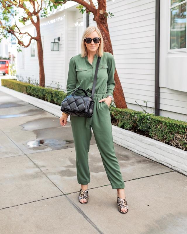Scoop jumpsuit, Bottega Veneta handbag, Seychelles heels | My Style Diaries blogger Nikki Prendergast