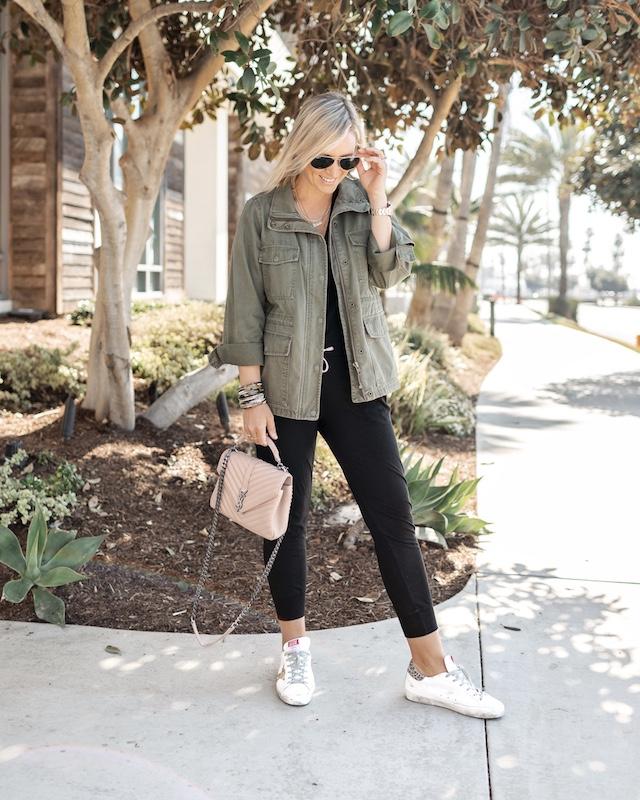 N:Philanthropy jumpsuit, Saint Laurent College handbag, Golden Goose sneakers | My Style Diaries blogger Nikki Prendergast