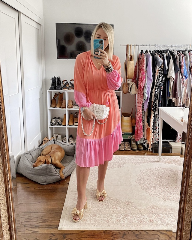Prettiest two-tone spring midi dress from Scoop | My Style Diaries blogger Nikki Prendergast