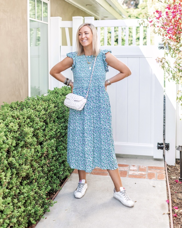 Target midi dress and Golden Goose sneakers | My Style Diaries blogger Nikki Prendergast