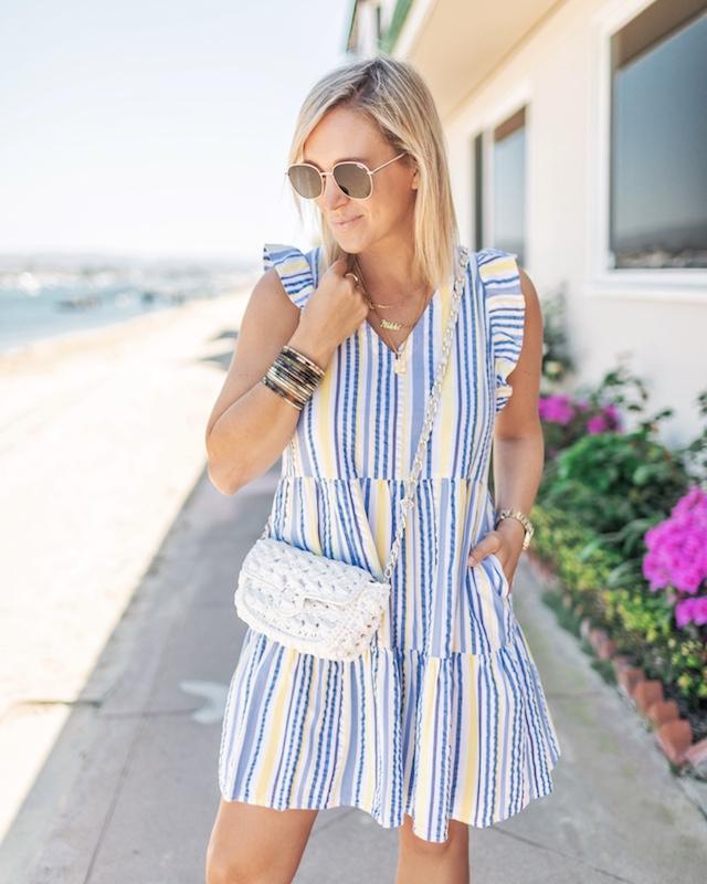 Spring seersucker mini dress under $20 | My Style Diaries blogger Nikki Prendergast