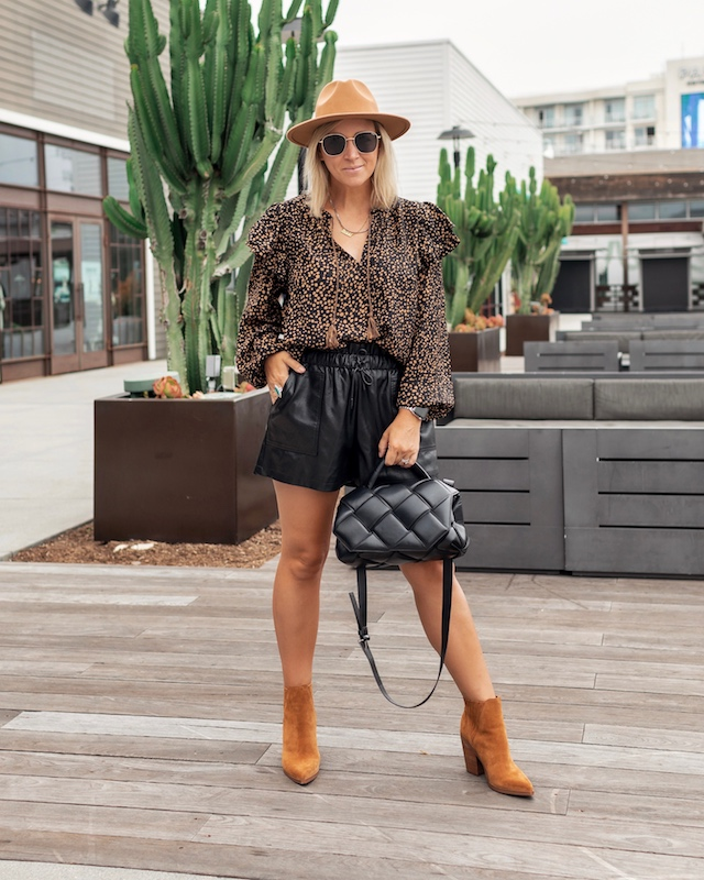 Affordable faux leather shorts for fall | My Style Diaries blogger Nikki Prendergast