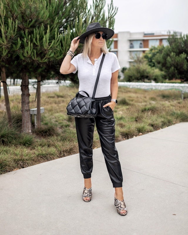 Affordable faux leather joggers for fall | My Style Diaries blogger Nikki Prendergast
